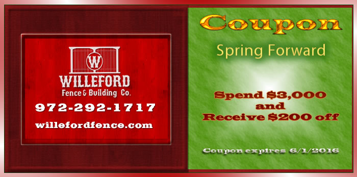 Willeford Fence & Building Spring Coupon