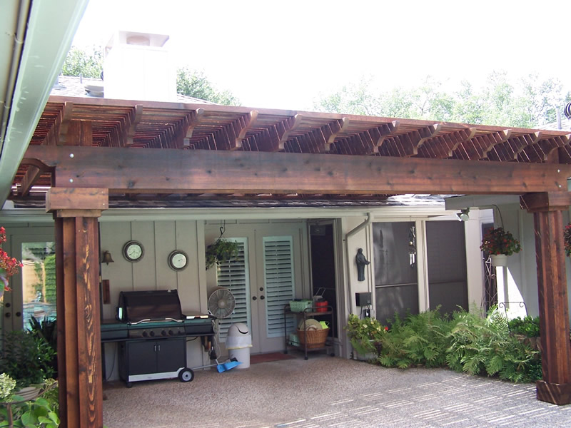 Prestained Open Lattice Patio Cover, Boxed Posts